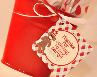 PRINTABLE FAVOR TAGS Sock Monkey Birthday Party Collection - Memorable Moments Studio