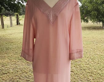 Vintage sheer b.b. Collections dress, sequined dress, vintage light pink dress, vintage clothing, size 6 dress, sheer clothing, peach dress