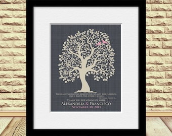 Parents Wedding Gift, Wedding Tree Art, Thank You Print, Quote by Hodding Carter Jr., Wedding Tree with Love Birds, Personalize