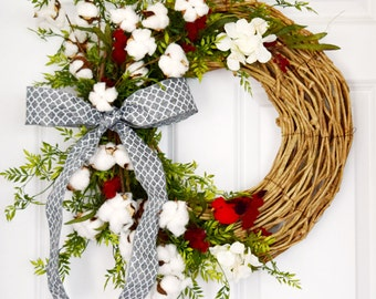 Farmhouse Cotton and Greenery Front Door Wreath