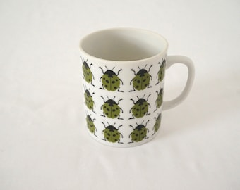 Porcelain Coffee Mug with Green Ladybugs / Insect Lover Gift