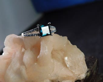 1.36 Ct. Square Tourmaline and Sapphire Ring Sterling Silver