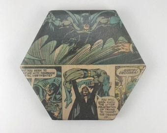 Batman and A Rogue Vampire Engaged in Battle Vintage Horror DC Comic Hexagonal Ceramic Drink Coaster