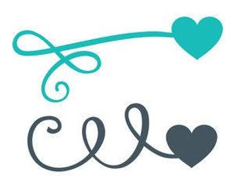 DIY Curly Lines With Hearts On The Ends Vinyl Decal, Laptop Decal, Tablet Decal, Car Window Decal