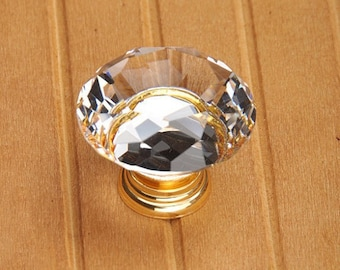 Clear Glass Crystal Knobs Cabinet Knob / Gold Dresser knobs cabinet Dresser Knobs / Dresser Pull / Cabinet Knobs / Furniture Knobs