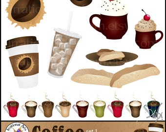 Coffee set 1 - Clipart Digital Graphics with iced coffee espresso bean mugs biscotti [INSTANT DOWNLOAD]