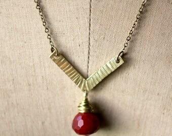 destash Boho Brass Pendant, Hammered Gold Brass Necklace, Red Gemstone Drop, Layering Necklace
