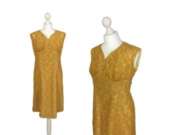 1950's Lace Dress   50's Vintage Dress   Mustard Gold Lace Dress With Metal Zipper