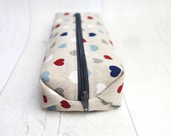 Small cotton linen zipper pouch, Pencil case/ makeup bag, fully lined with water proof fabric