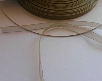 "Sheer 1/4"" ribbon, willow green 5 yards (180 inches)"