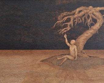 Self Service, Figure Pyrography, Woodburning Decor, Surreal Wall Art
