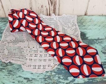Retro Patriotic Necktie - Wide Vintage Necktie, Red + White + Blue Unisex Necktie, Fathers Day Gift, Wedding Ascot, Retro Men's Accessories
