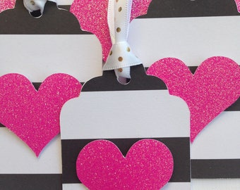 Hot pink glitter heart party favor tags