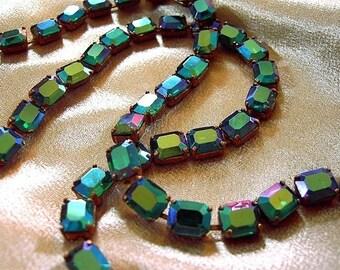 Vintage 8x10mm Emerald AB Glass Stone Chain