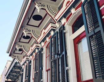 New Orleans- NOLA- French Quarter- Architecture- Creole Cottage Red & Green- Fine Art Photography