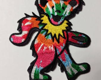 """3"""" Tie Dye Dancing Bear Patch Grateful Dead Owsley Stanley Merry Pranksters Steal Your Face"""
