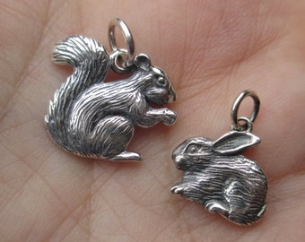 Sterling Silver Squirrel, or Bunny Charm(one)