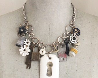 Statement Charm Necklace, Vintage Relic Charm Necklace, Curio, Found Object Necklace, Sewing Charms, Keyhole Necklace