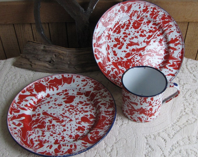 Red and White Enamelware Two Plates and a Mug Vintage Dinner and Camping Ware
