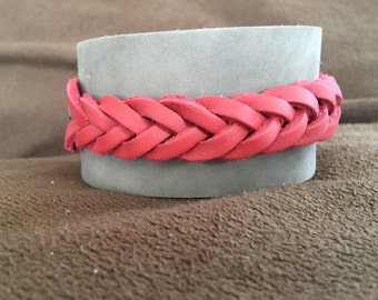 Men's Or Women's Gift Leather Bracelet Cuff Soft Grey Top Grain Leather with Red Braid Riveted on top