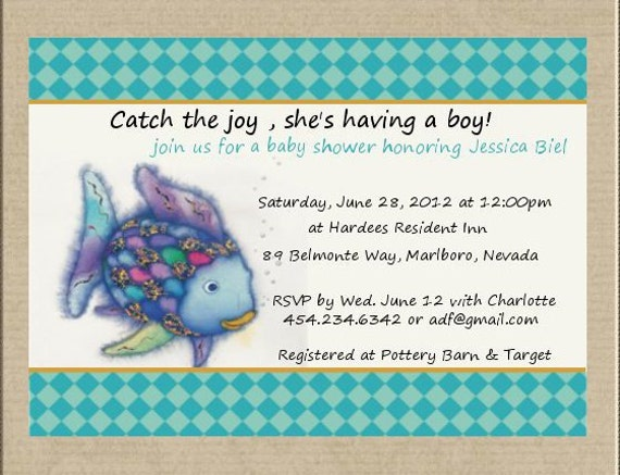 Rainbow fishfish baby shower invitation filmwisefo