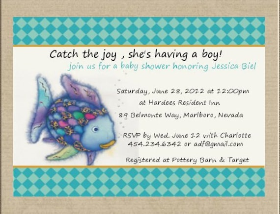 Rainbow fishfish baby shower invitation filmwisefo Image collections