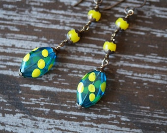 Unlisted - Polka Dot Earrings Blown Glass Earrings - Hollow Glass - Teal and Yellow - Statement Earrings - Boho Earrings - Bead Soup Jewelry