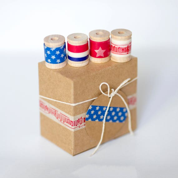 Party Favor DIY Gift Wrap Kit     Patriotic, July 4th, Independence Day, Red, White & Blue Birthday,  Favor Boxes, Treat Bags, July Wedding