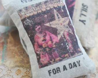 Shabby Chic Organic Lavender Sachet with Vintage Lady Image, Hopeful, Altered Art Transfer on Muslin Bag, Handmade in the USA