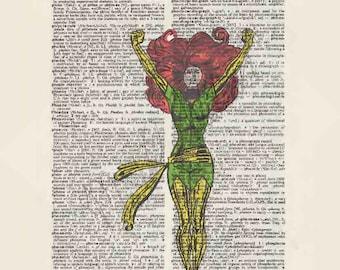 Marvel Comics Phoenix on dictionary page print