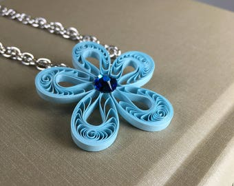 Blue Flower Necklace - Paper Quilling/Filigree
