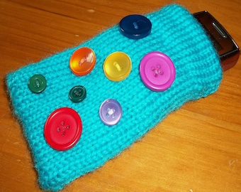 Hand Knitted Mobile Cover, Cell Phone Cozy, button decoration, back pocket, striped lining, unique design
