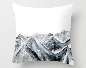 Mountain Throw Pillow, grey throw pillow, mountain pillow, modern pillow, mountains pillow, gray throw pillow, grey white pillow