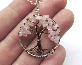 Rose Quartz Tree of Life- Mini Silver Pink Cherry Tree, Fertility, Love, Conception, Healing