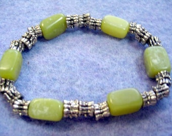 Natural Olive Green Serpentine Stone Bead Bracelet, Stone Bead Jewelry,  Antiqued Silver Colored Pewter Beads, Stretch Style