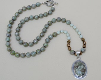 Artisan Sterling Silver Green Agate Necklace . Knotted . Turquoise Green Glass . Czech Glass.