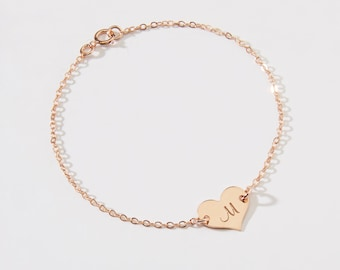 Personalized Small Heart Bracelet-1/2 inch-Initial, Dog Paw,Number, Symbols- 14k Gold Filled, 14k Rose Gold Filled & Sterling Silver-CG323B
