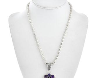 February's birthstone Pendant Necklace Amethyst Onyx Silver Design