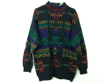 90s pattern knit sweater size M/L