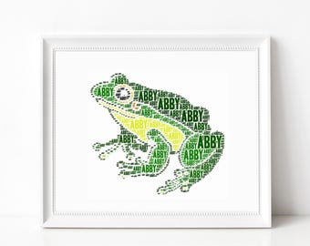 FROG Print - Custom Name Art - Frog Themed Room Decor - Forest Wall Art Print Kids Room - Personalized Word Art Typography Print-Animal Art