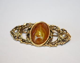 Faux Amber Brooch, Vintage Brooch, Faux Amber, Faux Pearl, Vintage Costume Jewelry, Vintage Jewelry, Vintage Faux Amber, Gold Tone