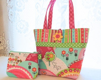 Cute Little Girls Purse Colorful Happy Hills Mini Tote Bag and Coin Purse Set Red Pink Lime Blue Daisy Michael Miller Handmade MTO