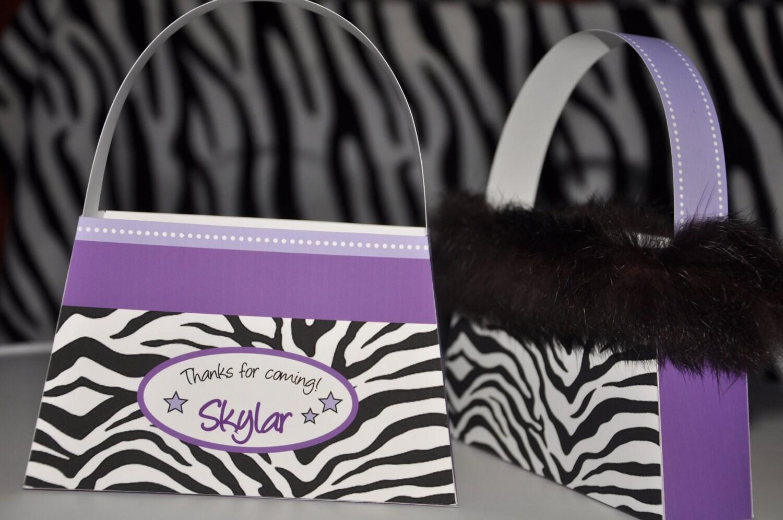 Diva Glam Spa Party purple zebra print pdf printable purse