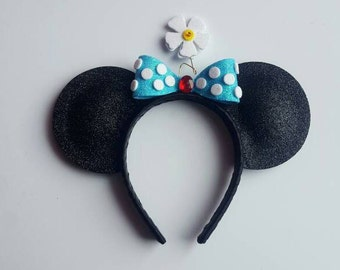 Vintage Minnie inspired mouse ears sized to fit an 18in doll.