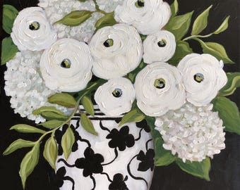 Original painting: Hydrangea painting, Floral painting, Ranunculus, contemporary  floral,  wall art, black and white ,  fine art canvas