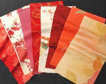 Vintage kimono silk fabrics 8 pcs #7515