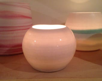 Small Tealight Votive Candleholder - translucent Porcelain by Alison Ostergaard - READY TO SHIP