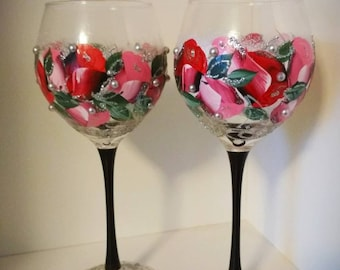 Painted color wine glass flower Gift