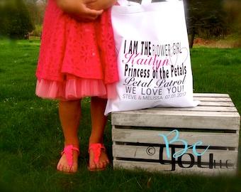 flower girl gift; flower girl; Princess of the petals; flower girl bag; wedding party gifts; personalized bag; petal patrol; princess