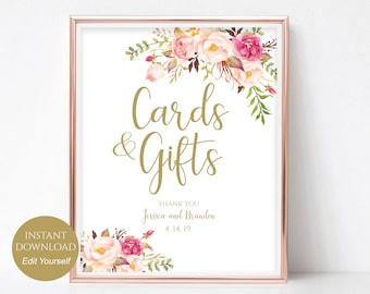 Personalized Cards and Gifts Sign Wedding Poster Gift Table Sign Template Wedding Sign PDF Instant Download DIY 8x10, 5x7, 4x6 Pastel Blooms